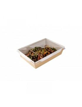 Caja de Ensalada con Tapa de Plástico y ventana...