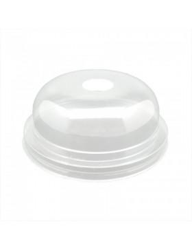 Tapa PET transparente cúpula con agujero 95 mm